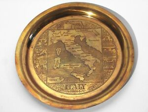 Vintage Copper Plate Map Of Italy 1944