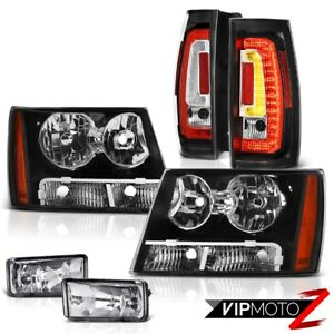 07 12 13 14 Chevy Tahoe Nighthawk Black Head Lamps Led Tail Sterling Chrome Spot