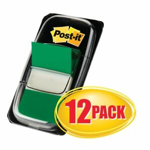 Post It Flags 1 X 1 7 10 Green 50 Flags Per Pad Pack Of 12 Pads