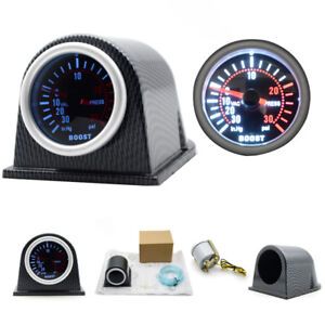 2 52mm Universal Car Led Turbo Boost Gauge Meter Pointer 0 30 Psi With Pod