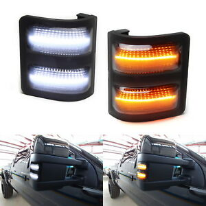 For 2008 16 F250 F350 F450 Smoked Lens Switchback Led Side Mirror Marker Lights