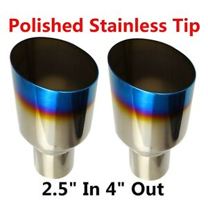 2x Blue Burnt Exhaust Single Layer Slant Tip Polished Stainless 2 5 In 4 Out