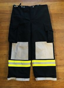 Turnout Gear Fire Fighter Ems Bunker Padded Pants Black Yellow W Liner 38x27