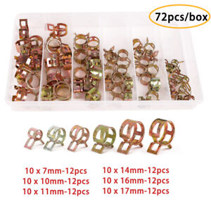 72pcs Box Spring Clips Fuel Line Hose Water Pipe Tube Clamps 7 10 11 14 16 17mm