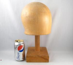 Vintage Wooden Hat Mold Block Millinery Form W Stand Size 22