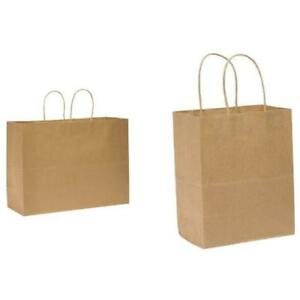 Tote Take Out Containers Medium Retail Bag Kraft Paper 16 x12 250 Ct Id And