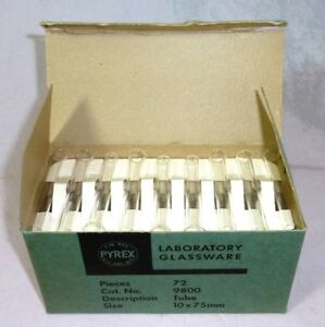 Corning Pyrex Glass Test Tubes 9800 10x75mm Beaded Rim 2 Cases Of 72 Nos