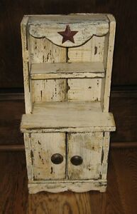 Wood Cupboard Doll Cabinet Spice Rack Primitive French Country Farmhouse Decor