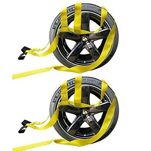 2x Car Basket Straps Adjustable Tow Dolly Demco Wheel Net Set Flat Hook Yello