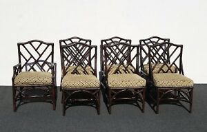 Six Vintage Chinese Chippendale Bamboo Chairs David Francis Furn Seven Chairs