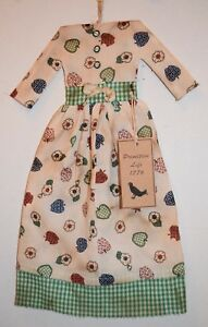 Cotton Country Apple Dress Grungy Primitive Country Folk Art Doll Wall Decor
