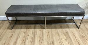 Superb Mid Century Modern Milo Baughman Chrome And Leather Bench