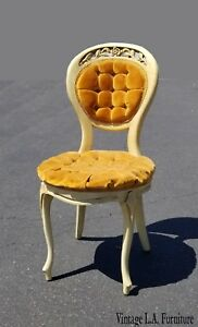 Vintage French Provincial Gold Tufted Accent Chair Vanity Chair