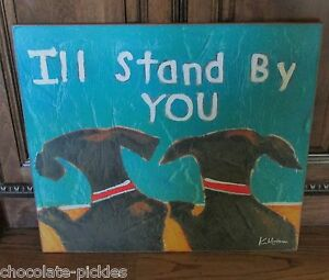 Big Black Dog Friends Picture Primitive French Country Farmhouse Decor Wall Sign