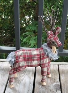 Red Plaid Reindeer Deer Primitive French Country Farmhouse Cabin Christmas Decor