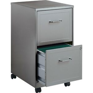 2 Drawer File Cabinet Metal Office Home Locking Organizer Gray Document Holder