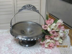 Vtg Pairpoint Quadruple Plate Silverplate Brides Cake Basket Ornate Victorian
