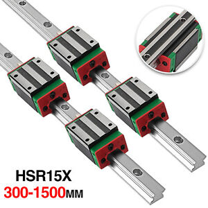 2x 15mm Hgh15 300 1500mm Fully Supported Linear Guideway Rail 4x Bearing Block