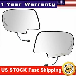 Mirror Glass Heated W Turn Signal Left Right Pair Set For Chevy Gmc Cadillac