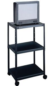 Quartet Metal Rolling 3 Shelf Audio Visual Cart Adjustable Height Av Qrt88254