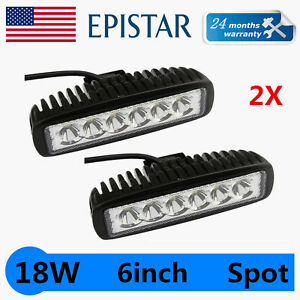 2x 6 Inch 18w Led Work Light Bar Offroad Single Row Spot Light Truck 4wd 12v24v