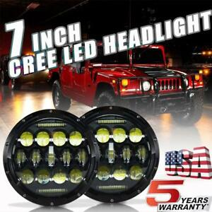 For Off road Hummer H1 H2 Head Light Bulbs 7inch Round Led Headlight Hi low Beam