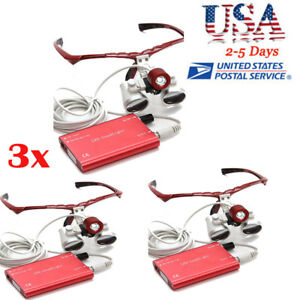 3pc Led Headlight Lamp 3 5x420mm Dental Loupes Surgical Medical Binocular Loupe