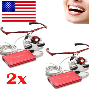 2pc led Headlight Lamp 3 5x420mm Dental Loupes Surgical Medical Binocular Loupe