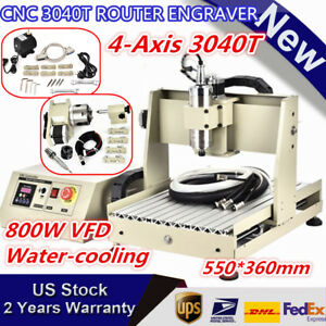 800w 4 Axis Cnc 3040 Router Engraver Machine Drill Mill Carving Cutter Desktop