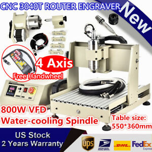 4 Axis Cnc 3040 Router Engraver Machine Mill Cutter 800w Vfd Spindle Motor Rc