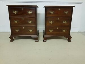 Pair Craftique Mahogany Three Drawer Chests Nightstands