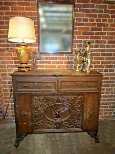 Rare Antique Rustic Spanish Style Eagle Entry Table Side Console Sofa Table