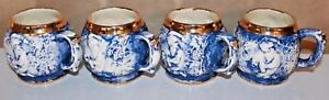 Gorgeous Antique Set Of 4 Blue White Gold 3d Mugs With Scenes Coffee Tea Cups