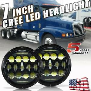 260w 7inch Round Led Headlight Projector Drl Hi Lo Beam For Freightliner Century