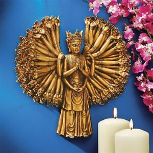 Asian Mistycal Kuan Yin Buddha Bodhisvatta Of Compassion Sculptural Wall Decor