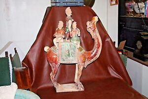 Rare Antique 32 Sancai Glazed Pottery Mongolian Camel W Band Of 5 Musicians