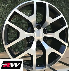 24 Inch 24 X10 Wheels For Chevy Tahoe Black Machined Rims Gmc Sierra 2014