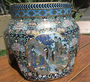 Handpainted Village Display Stand Asian Chinese Japanese For Vase Sculpture