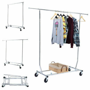 Heavy Duty Commercial Grade Clothing Garment Rolling Collapsible Rack Chrome New