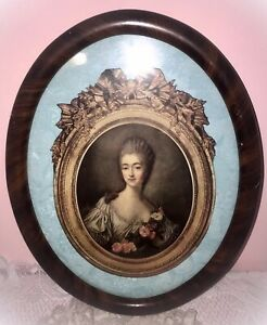 Antique Oval 12 X16 Tiger Wood Marie Antoinette Framed With Glass Matte