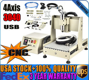 4axis Cnc3040 Router Engraver Machine Usb Spindle Motor 0 8kw Water cooled Vfd