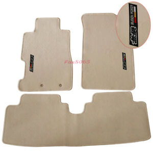 Fits 01 05 Civic Floor Mats Front Rear Nylon Beige 3pc W Mugen Embrodery