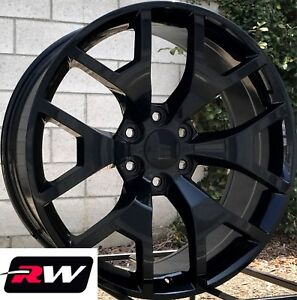 24 X10 Inch Rw 5656 Wheels For Chevy Truck Gloss Black Rims 6x139 7 31 Set