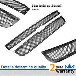 2pcs Stainless Steel Black Rivet Mesh Grille Grill Fit 2004 2012 Chevy Colorado