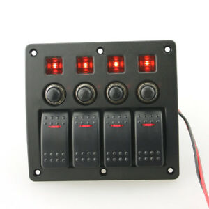 Marine Rv 4 Gang Switch Panel With Led Light Toggle On off Waterproof 12 24v