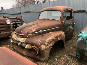 1952 52 Ford F5 Truck Cab W Doors And Front Clip Patina Rat Rod Or Restore