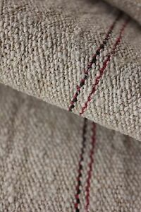 Antique Linen Homespun Hemp 4 1 Yards Black Red Stripes Nubby Fabric Material