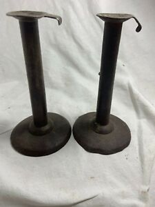 Early 19th Century Pair Of Hogscraper Candlesticks Signed Bill