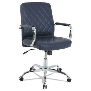 Mid back Diamond embossed Leather Office Chair Navy Blue Seat 275lb Capacity