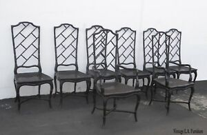 Set Of Eight Tall Back Black Faux Bamboo Chinese Chippendale Dining Chairs As Is